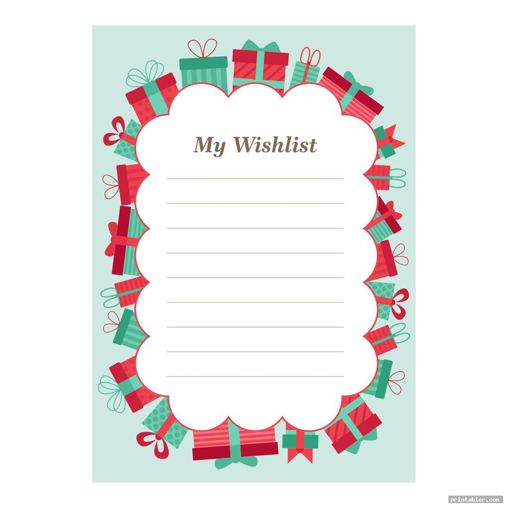basic birthday wish list template printable