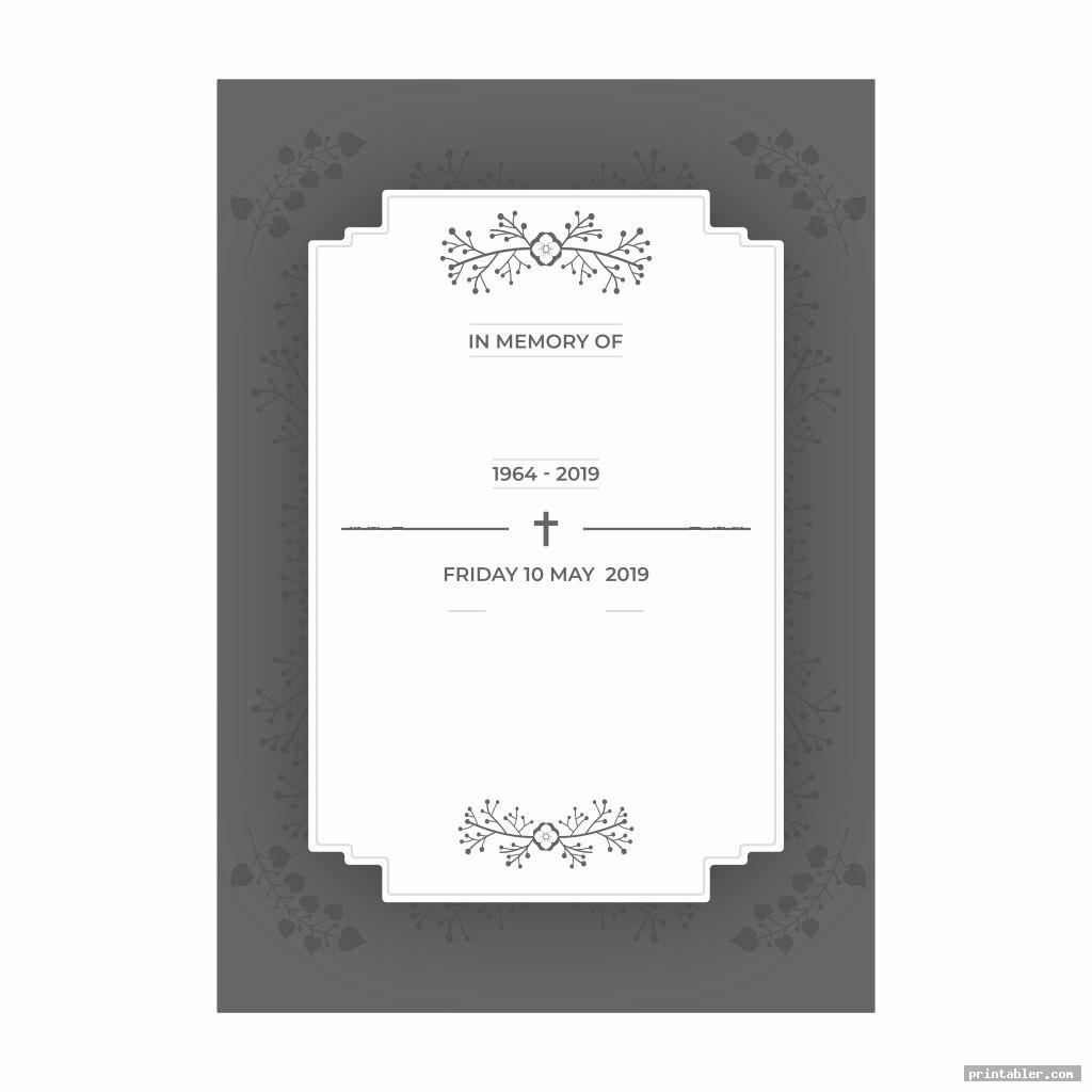 basic funeral memory cards templates printable