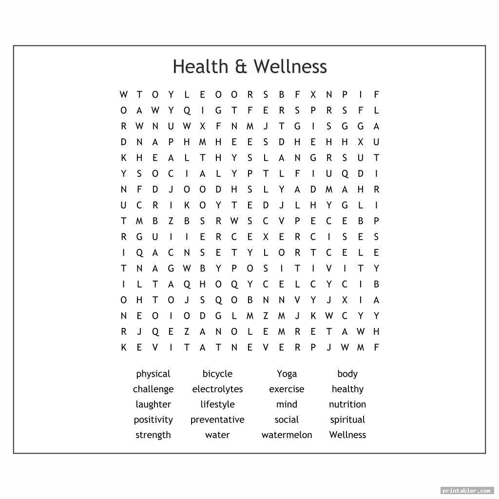 basic health and wellness word search printable