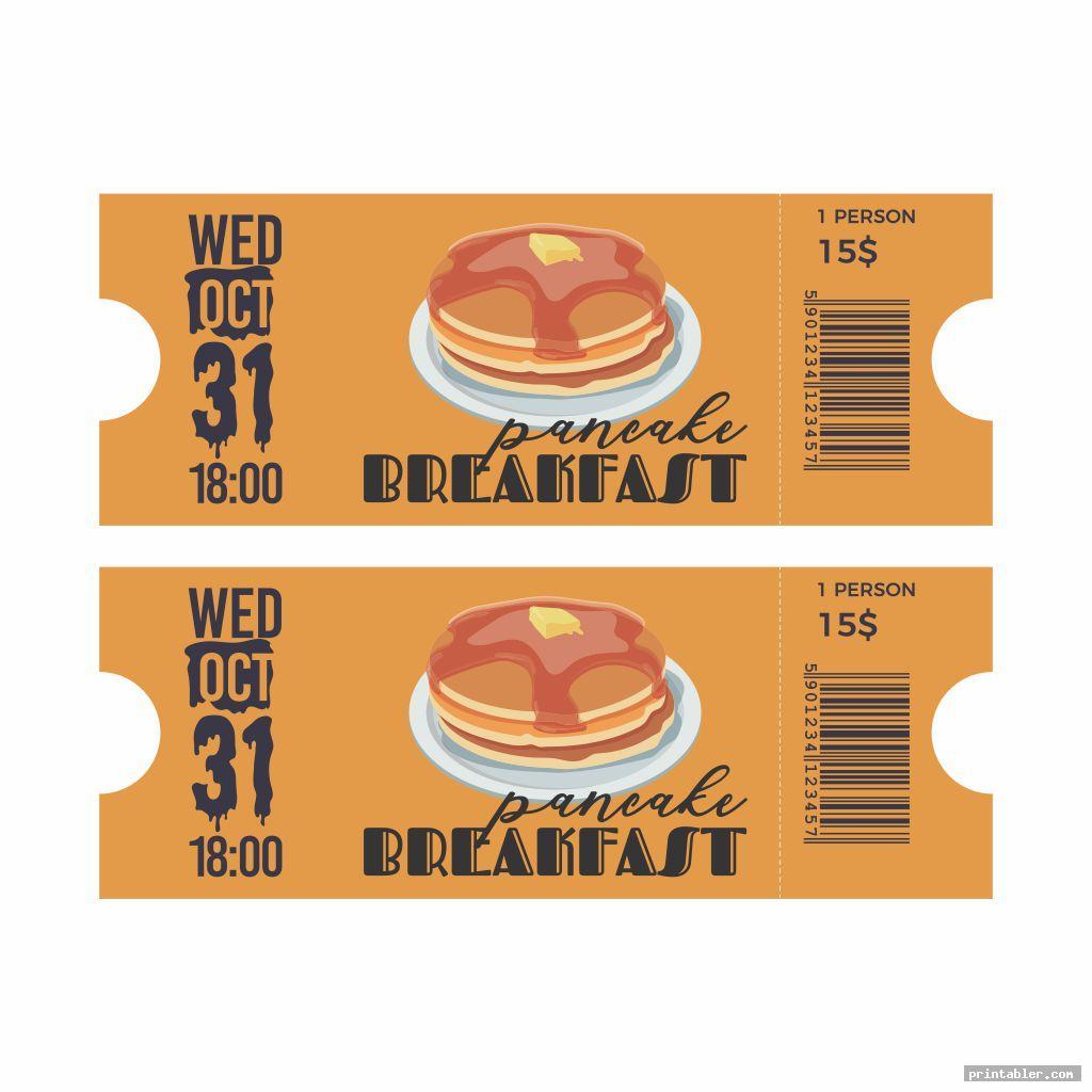basic pancake breakfast ticket template printable