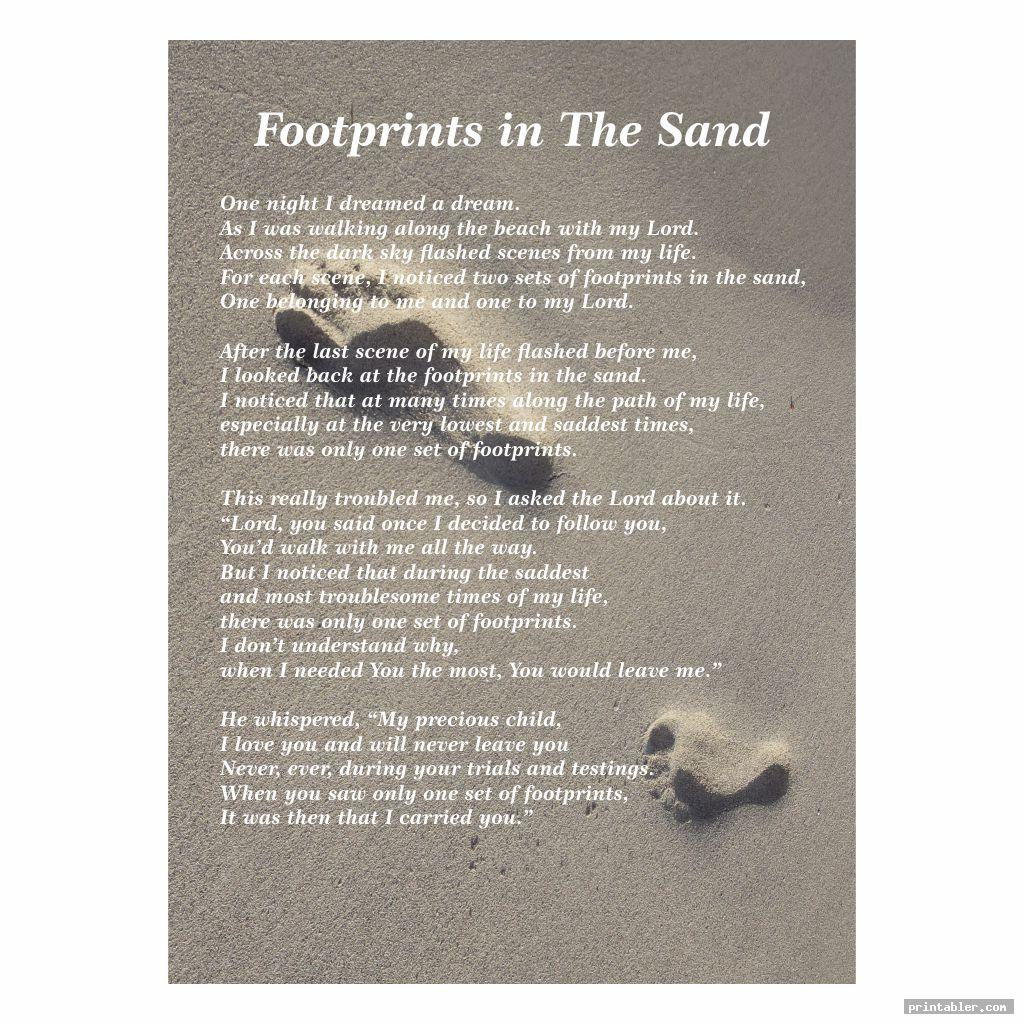 basic poem footprints in the sand version printable