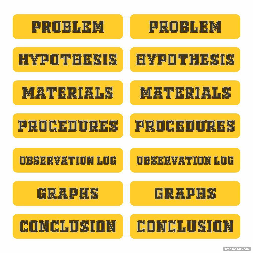 basic science fair labels templates printable