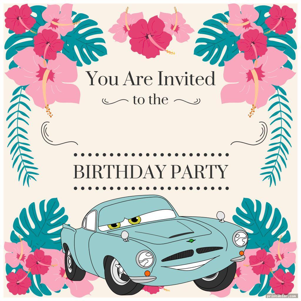 beautiful disney cars birthday party invitations printable