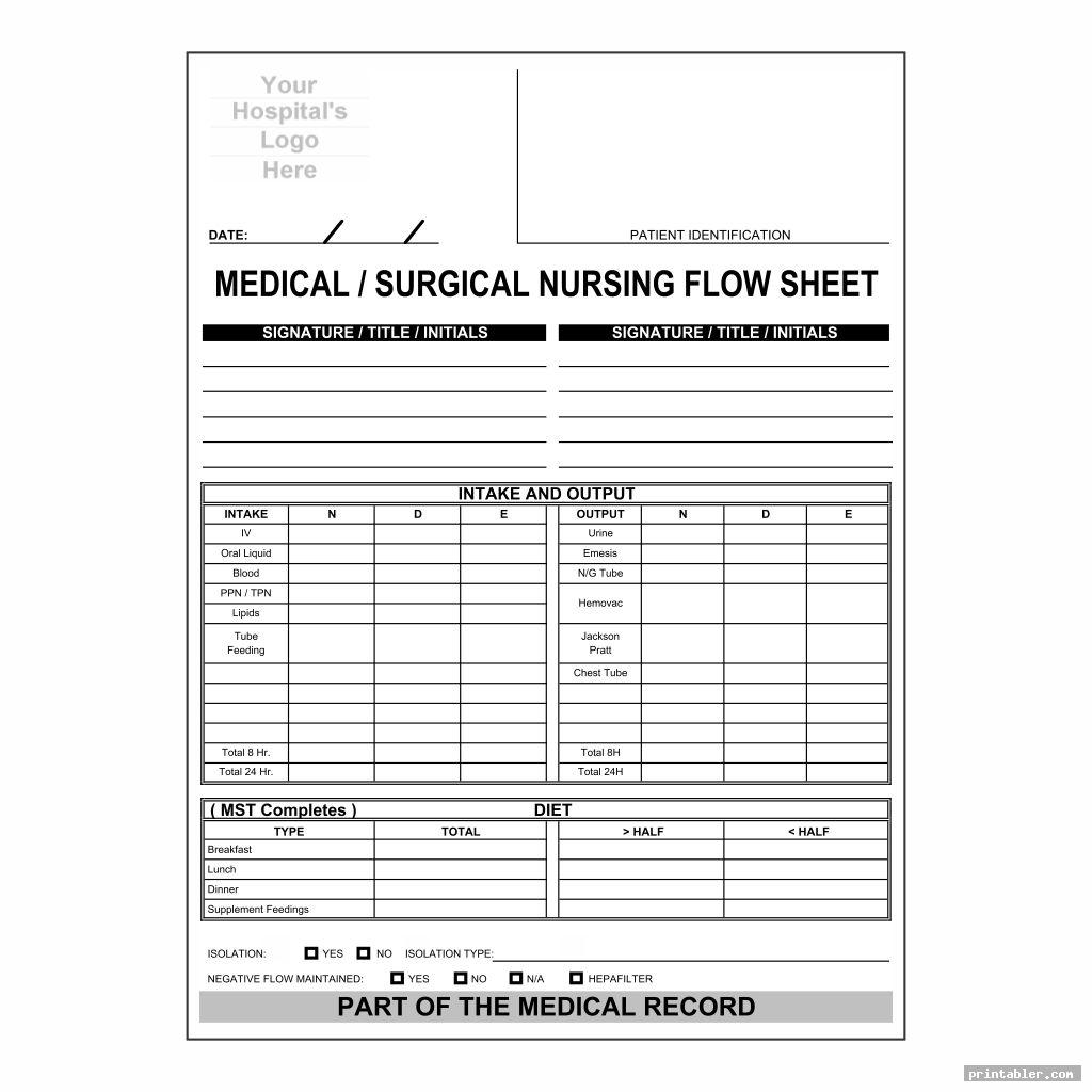 blank med surg report sheet templates printable