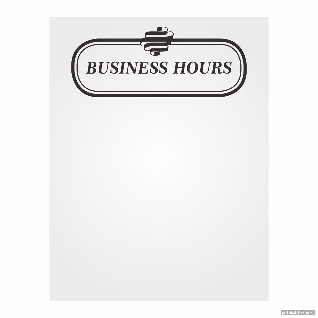 blank store hours sign template printable