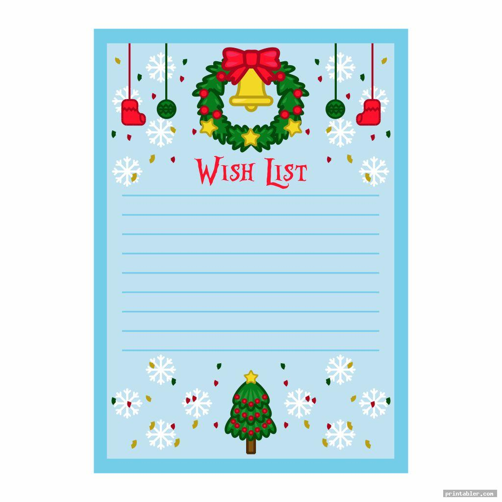 christmas theme birthday wish list template printable