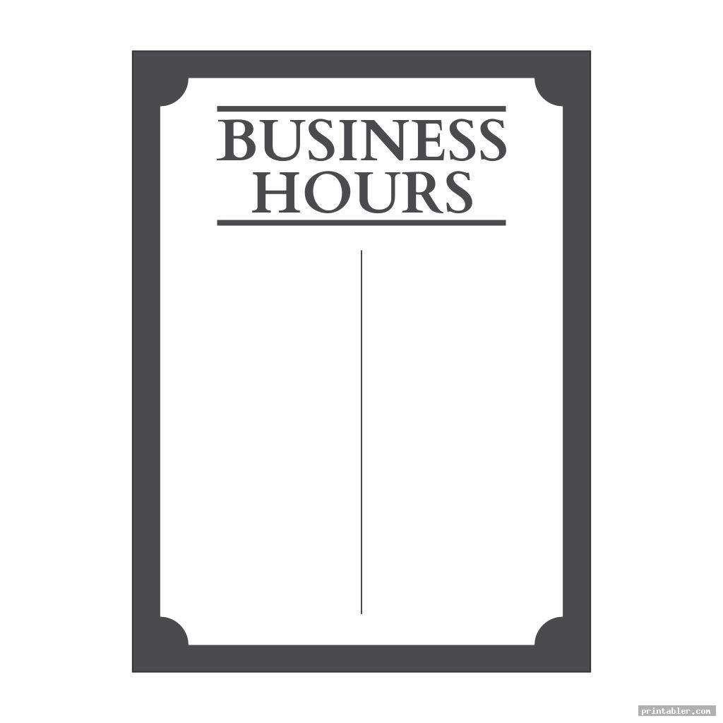 classic store hours sign template printable