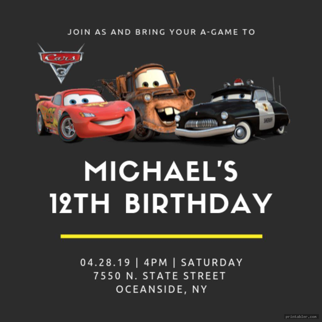 cool disney cars birthday invitations printable