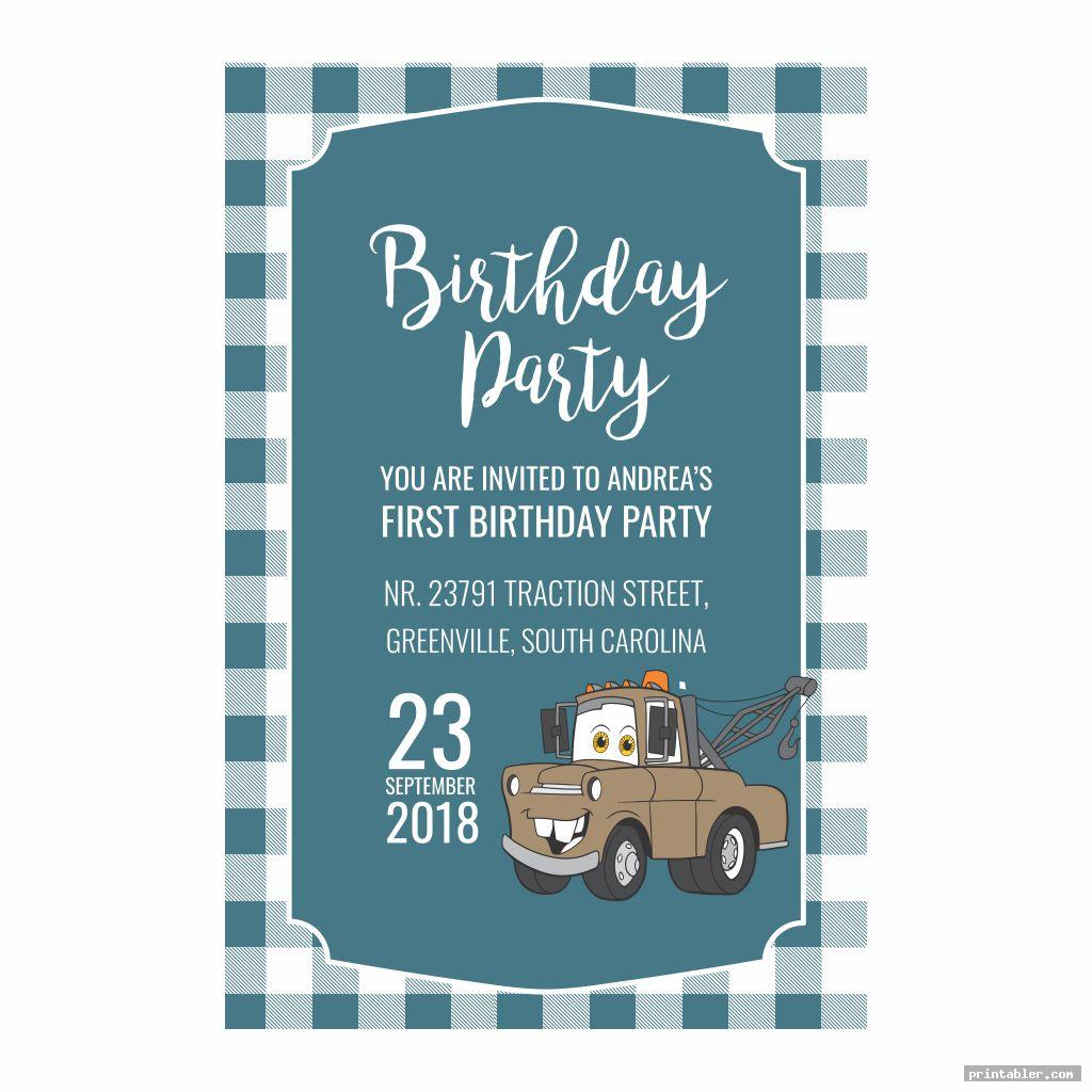 cool disney cars birthday party invitations printable