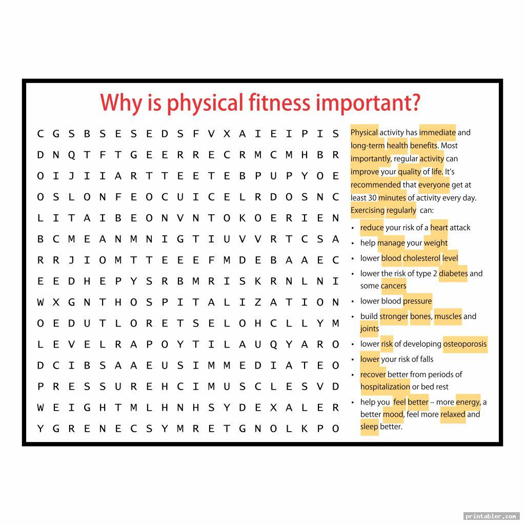 Health And Wellness Word Search Printable