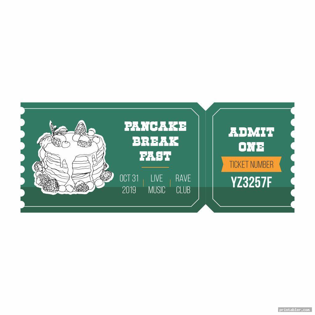 cool pancake breakfast ticket template printable
