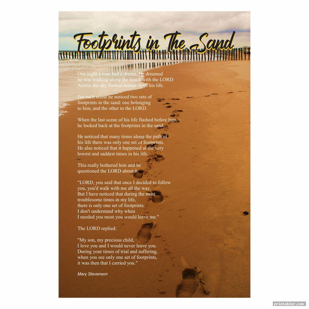 cool poem footprints in the sand version printable