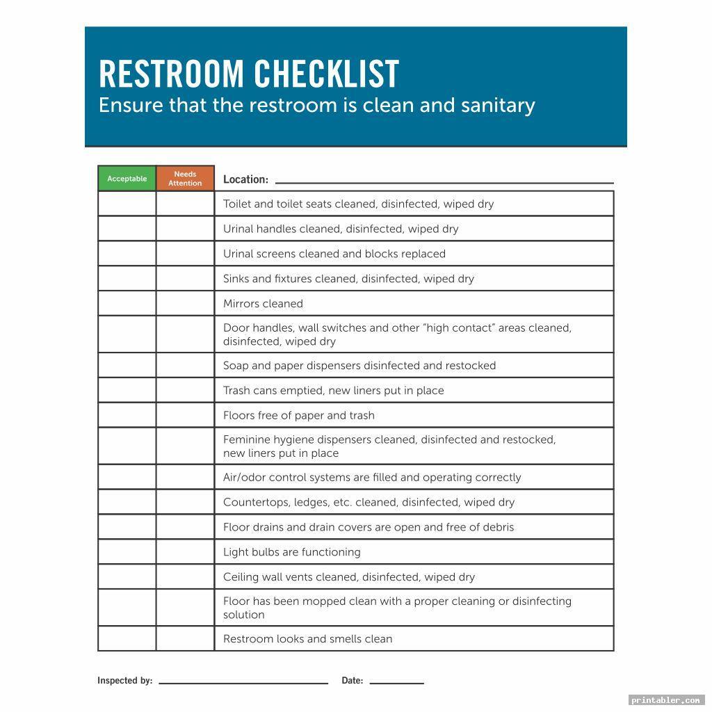 Restroom Cleaning Log Template Printable