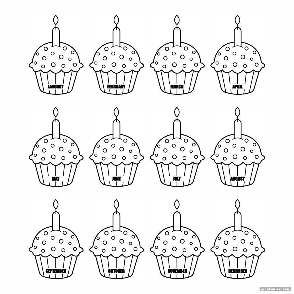 cupcake birthday calendar printable image free