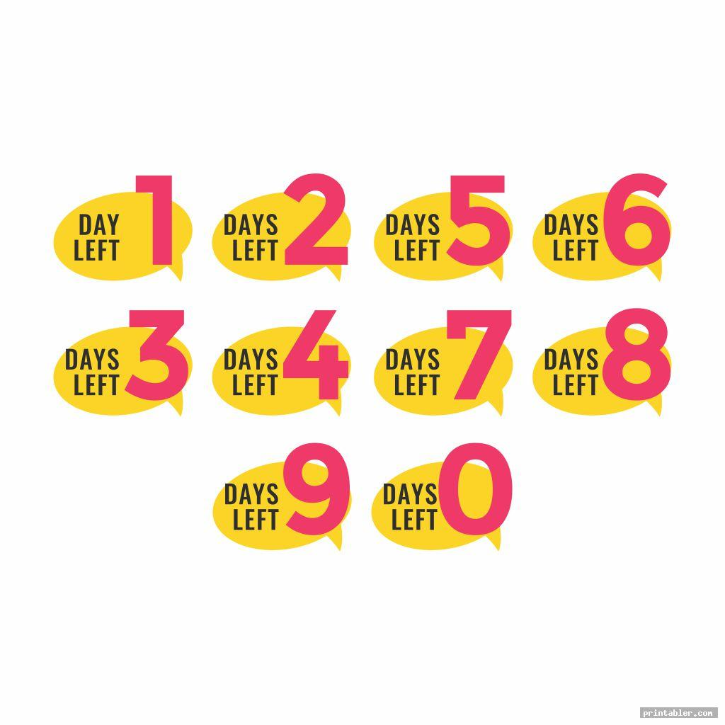 Countdown Numbers Printable