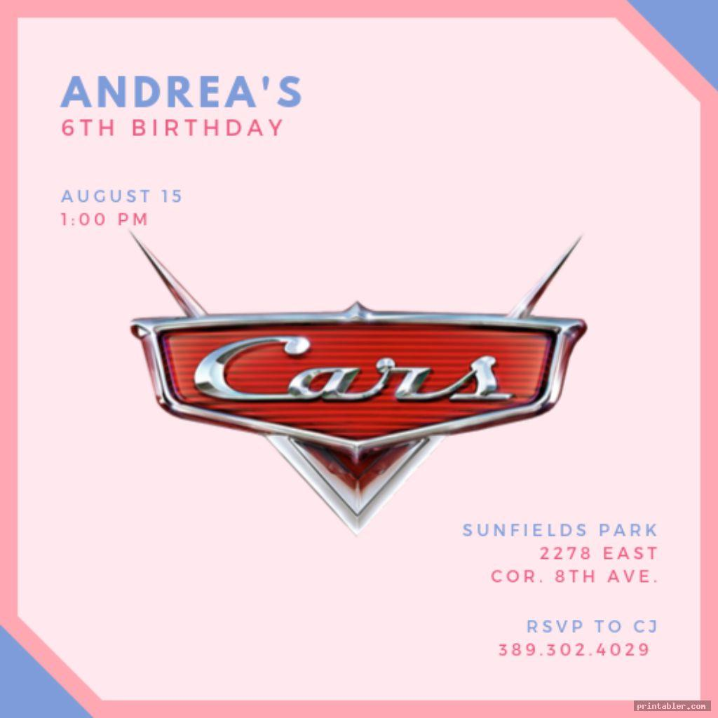 cute disney cars birthday invitations printable