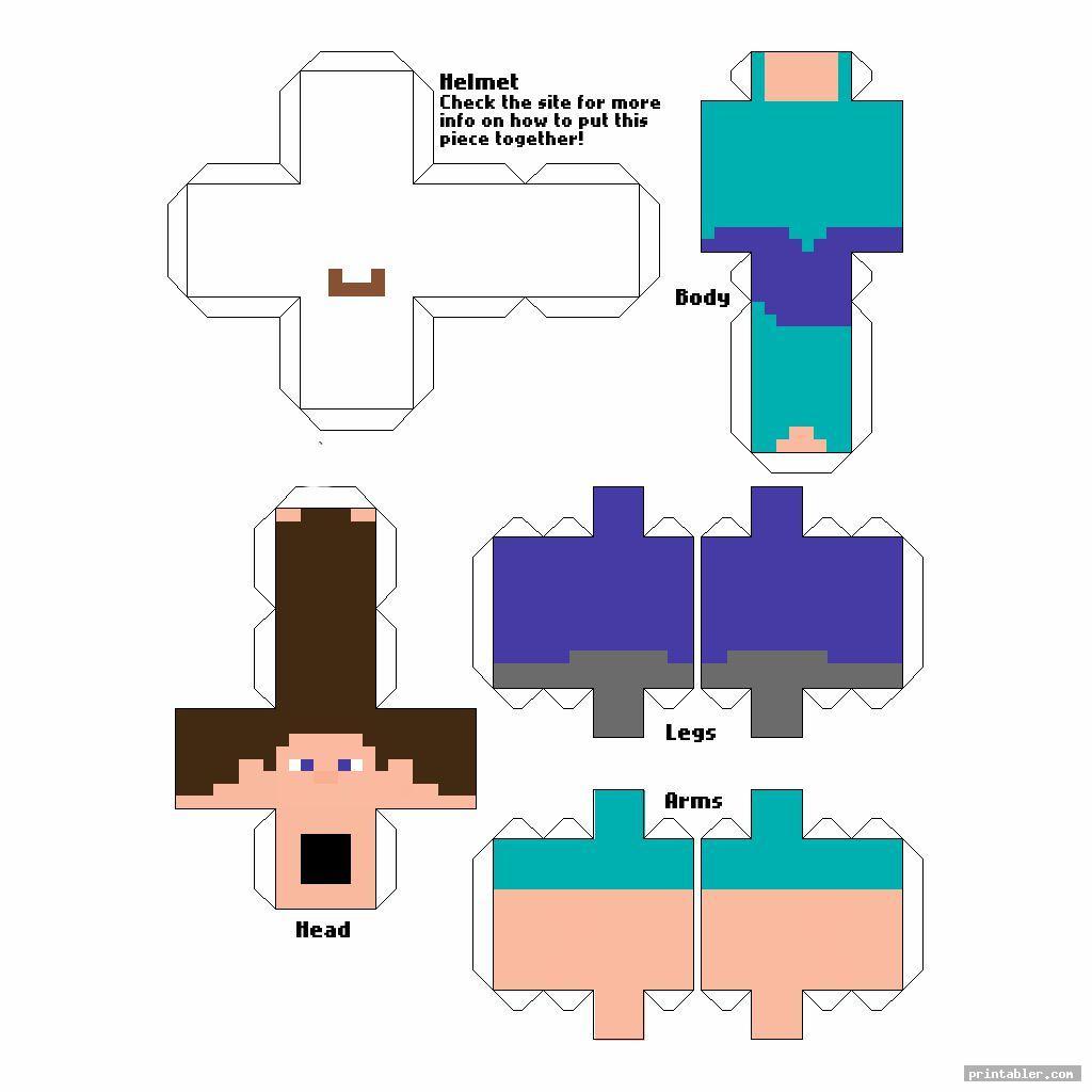 cute minecraft steve papercraft template printable