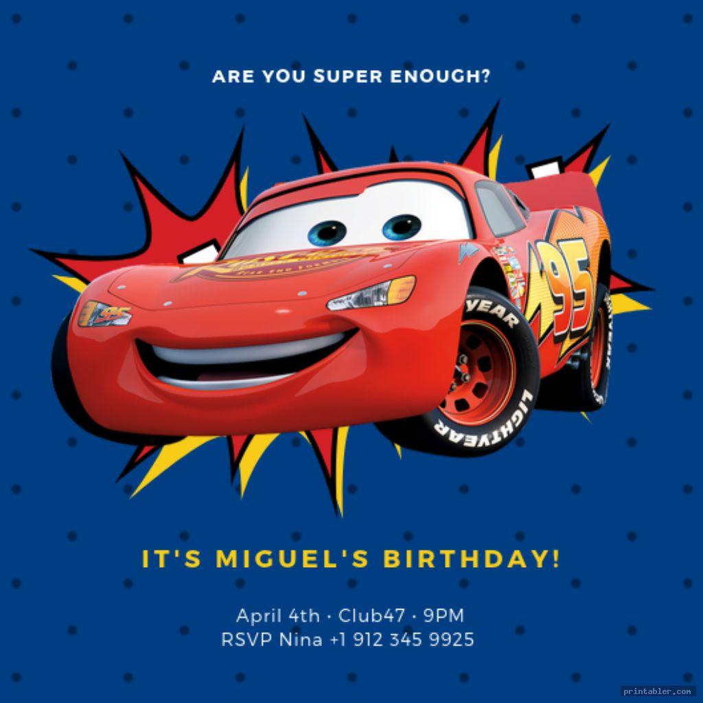 Disney Cars Birthday Invitations Printable