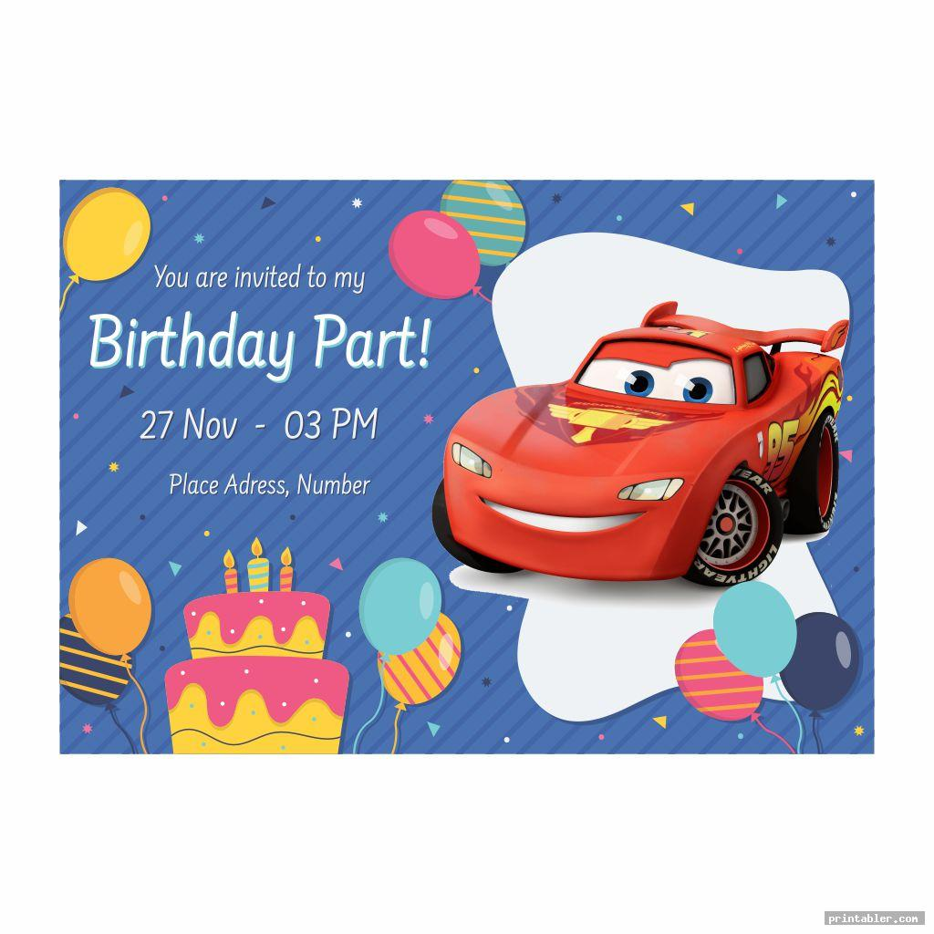 Disney Cars Birthday Party Invitations Printable