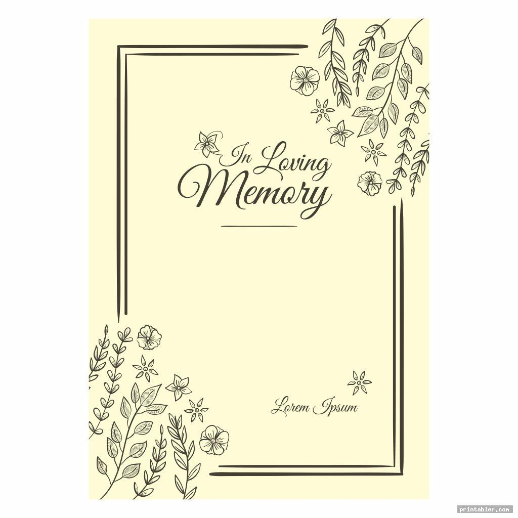 funeral memory cards templates printable image free