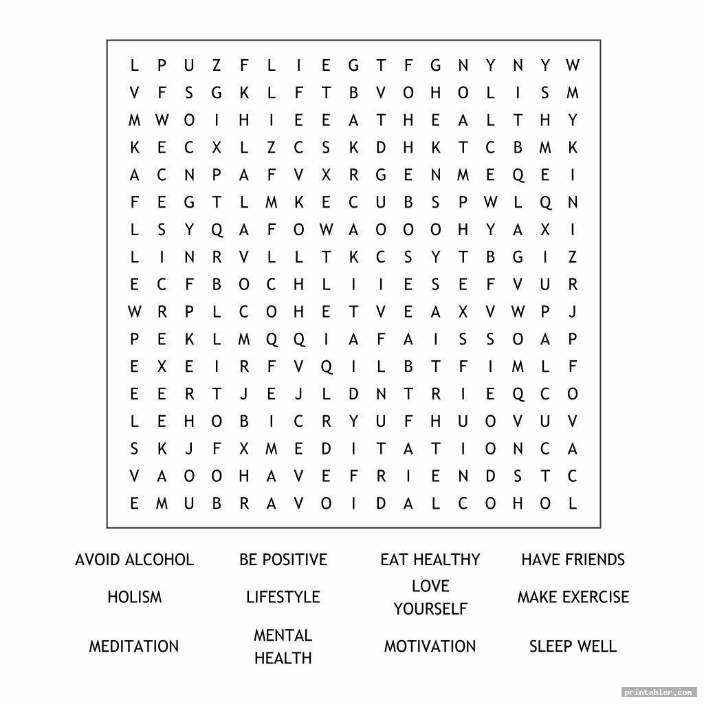 health and wellness word search printable image free