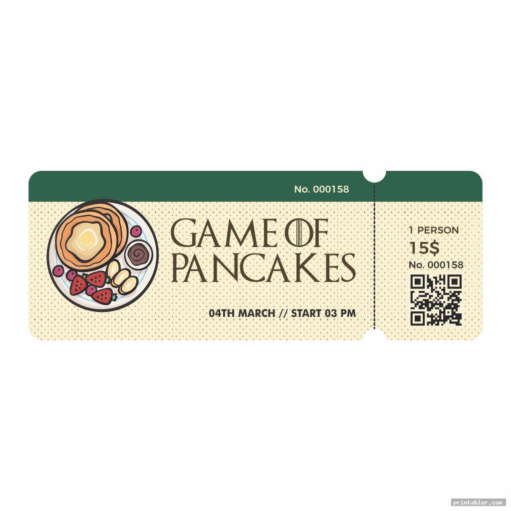 pancake breakfast ticket template printable image free