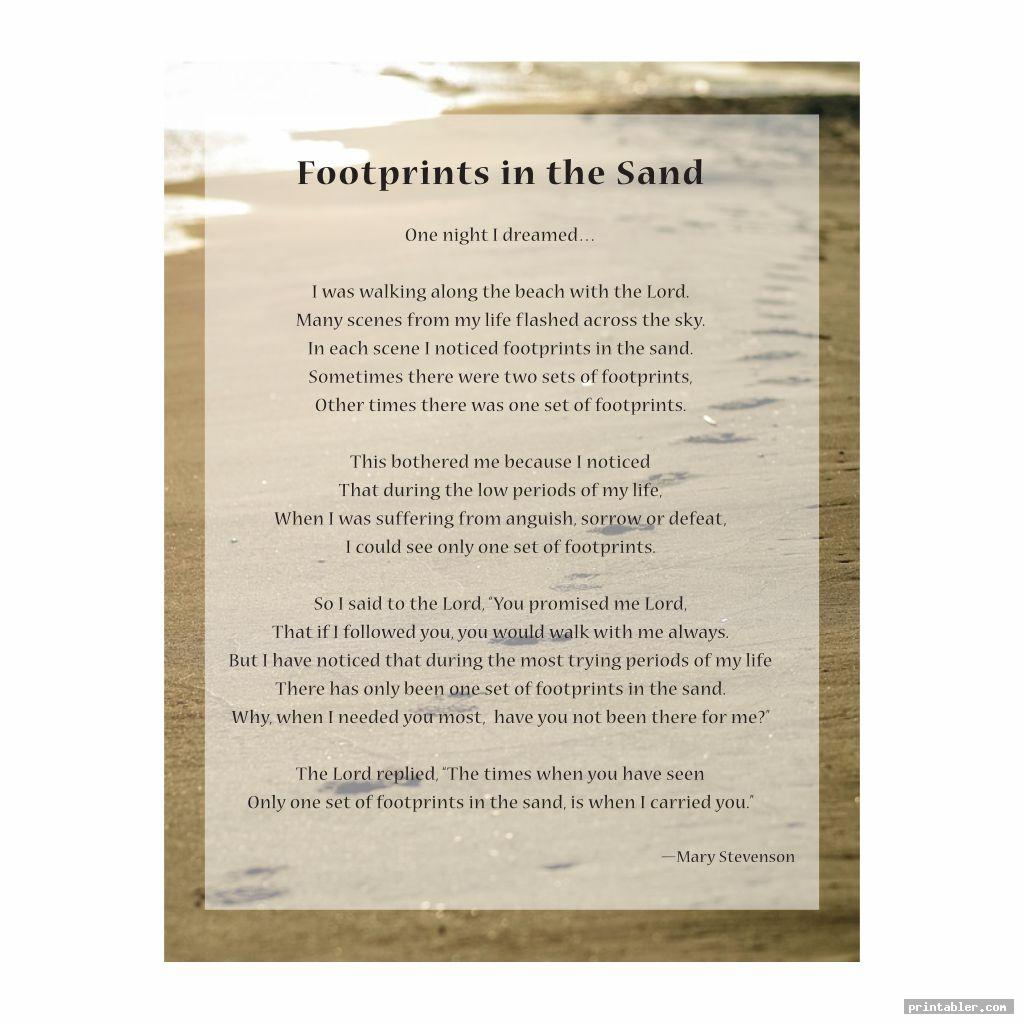 poem footprints in the sand version printable image free