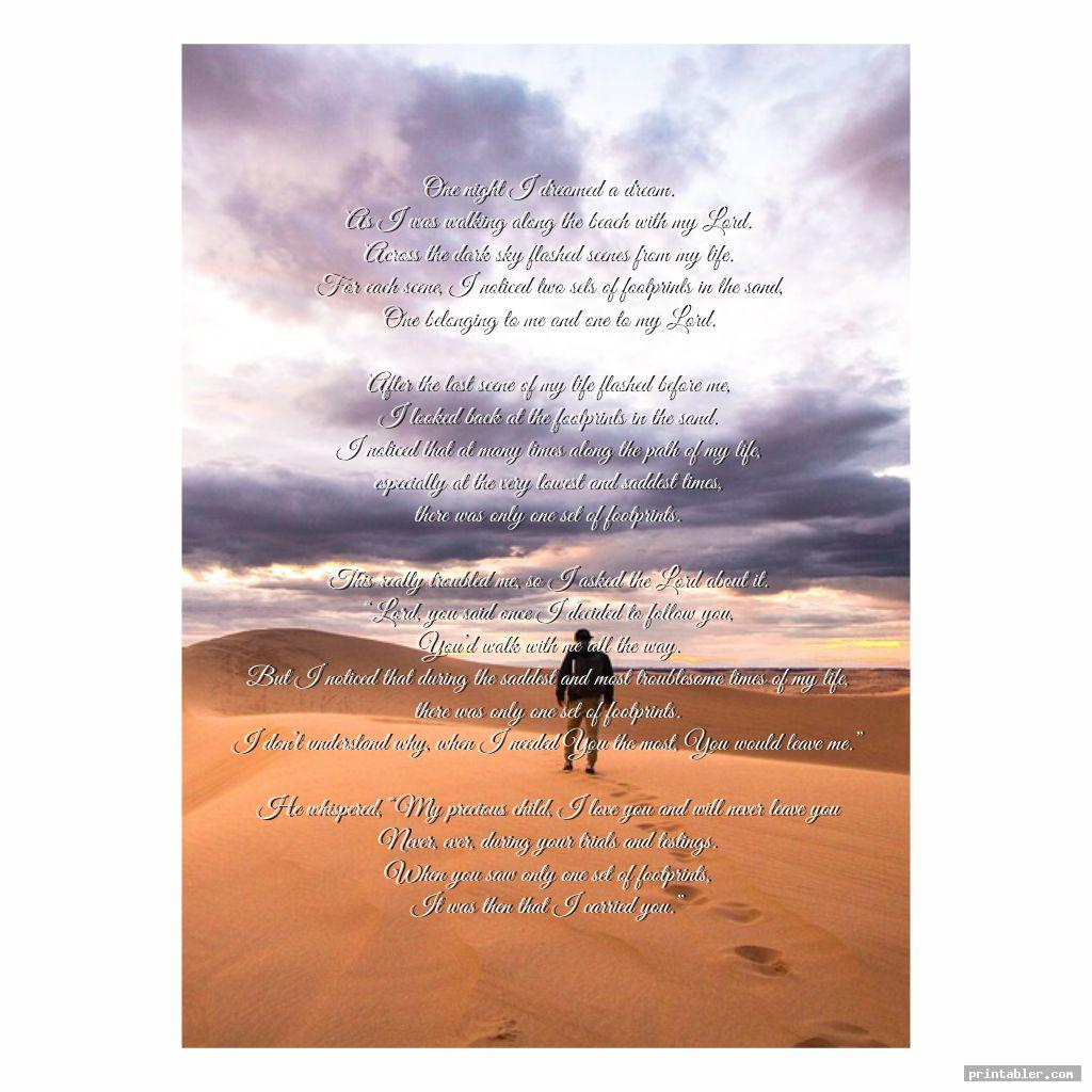 poem footprints in the sand version printable template for use
