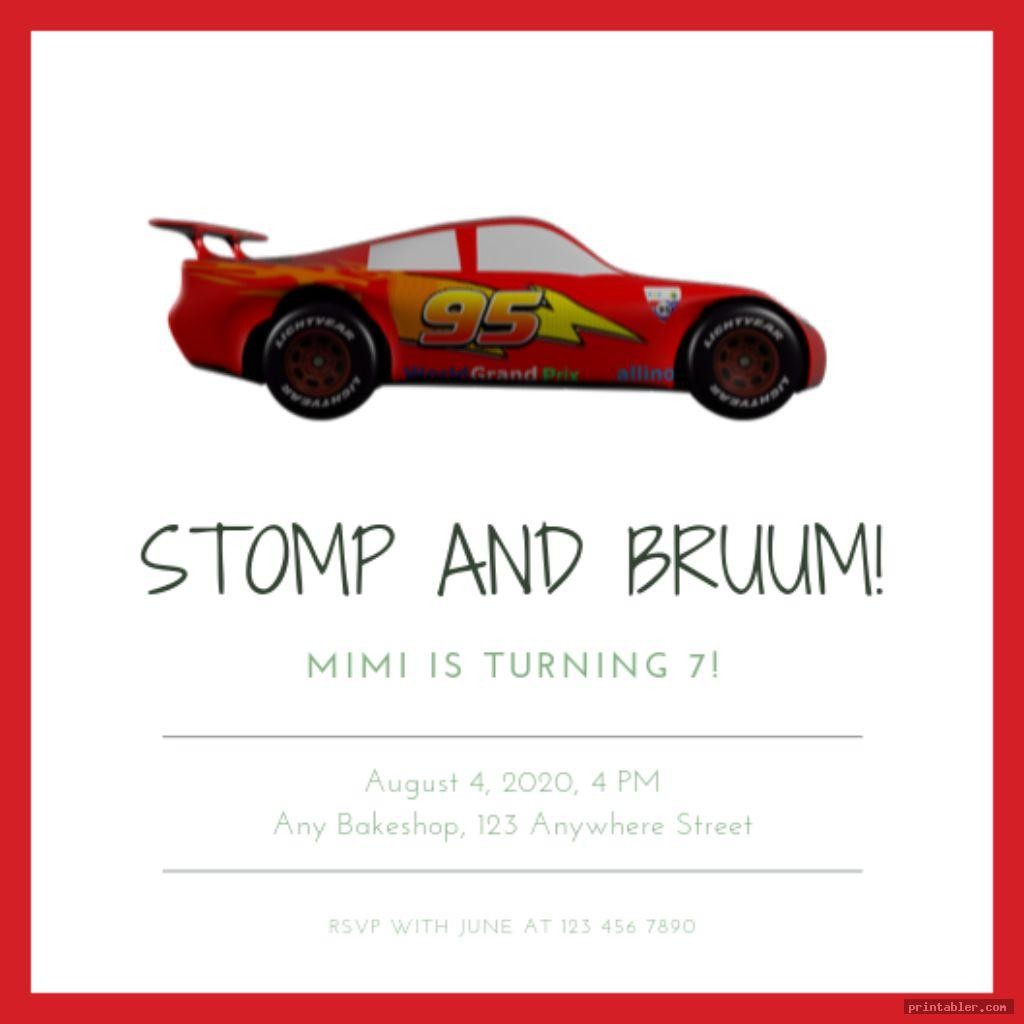 simple disney cars birthday invitations printable