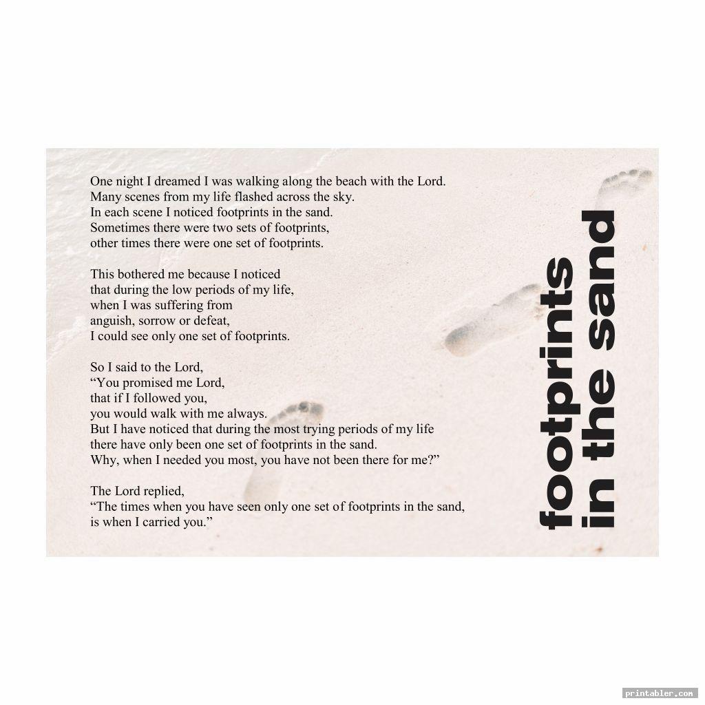 simple poem footprints in the sand version printable