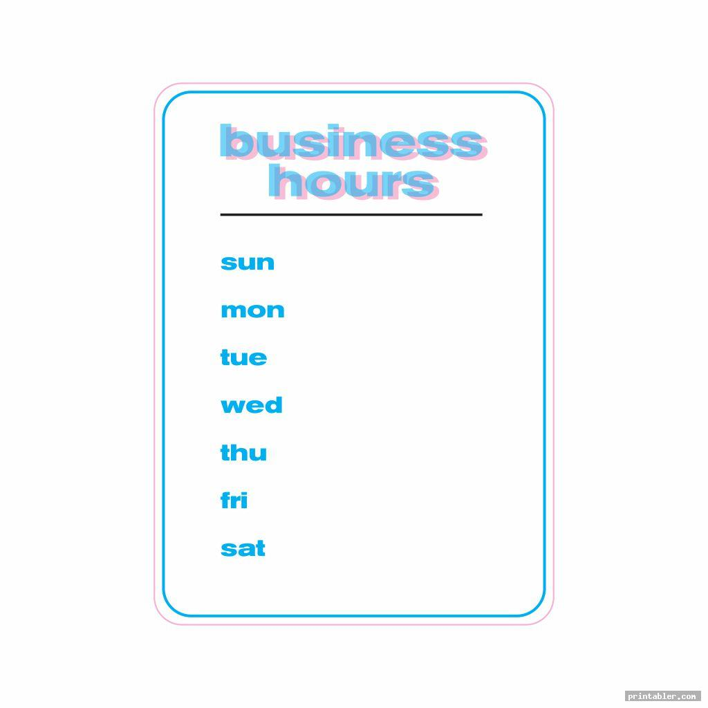 store hours sign template printable image free